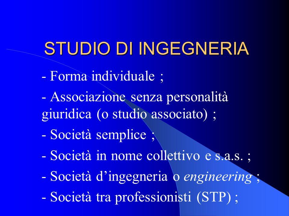STUDIO DI INGEGNERIA - Forma individuale ;