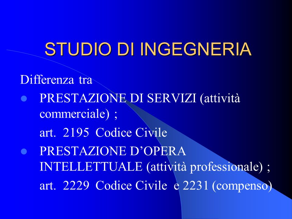 STUDIO DI INGEGNERIA Differenza tra