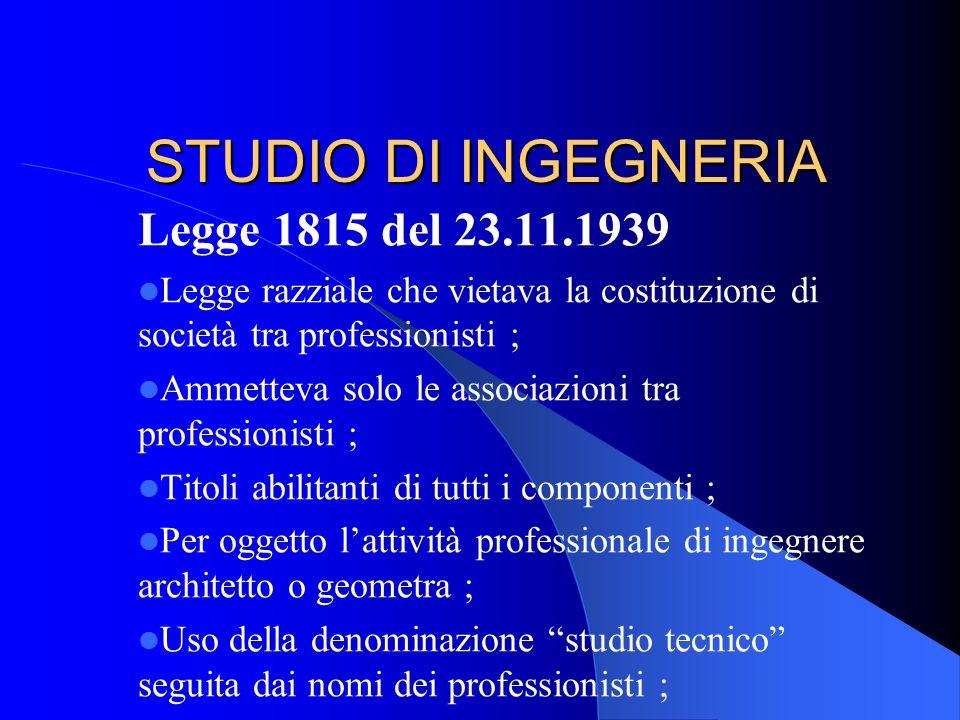 STUDIO DI INGEGNERIA Legge 1815 del 23.11.1939