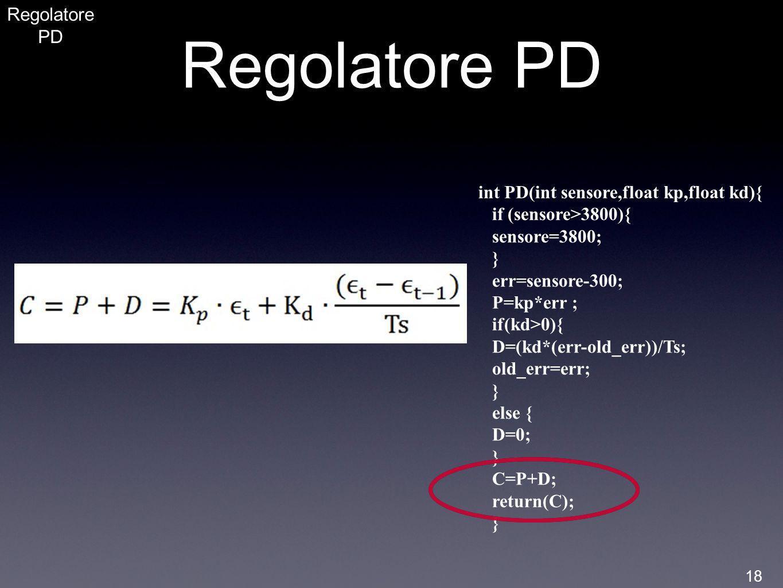 Regolatore PD Regolatore PD int PD(int sensore,float kp,float kd){