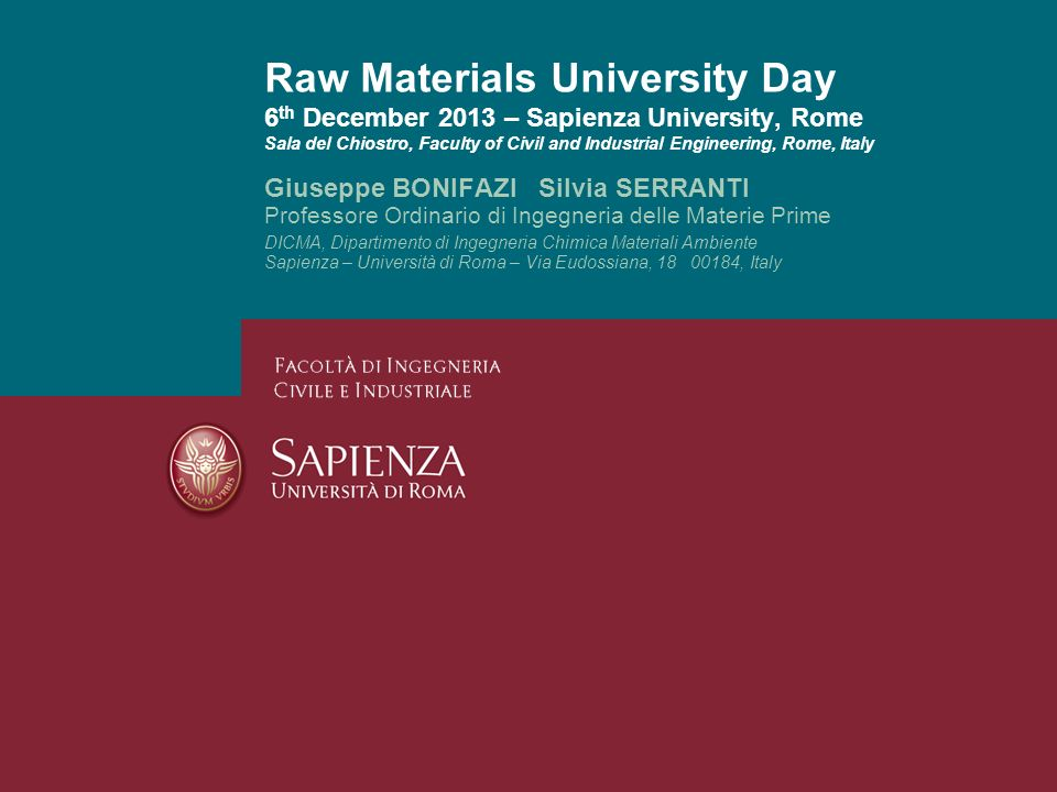 Raw Materials University Day 6th December 2013 – Sapienza University, Rome Sala del Chiostro, Faculty of Civil and Industrial Engineering, Rome, Italy