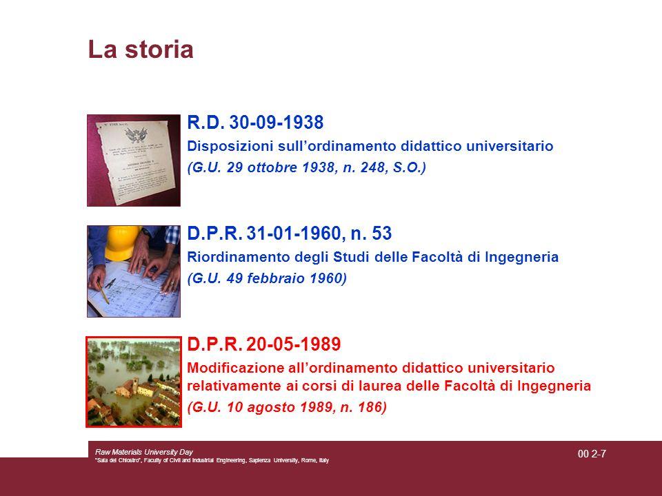 La storia R.D. 30-09-1938 D.P.R. 31-01-1960, n. 53 D.P.R. 20-05-1989
