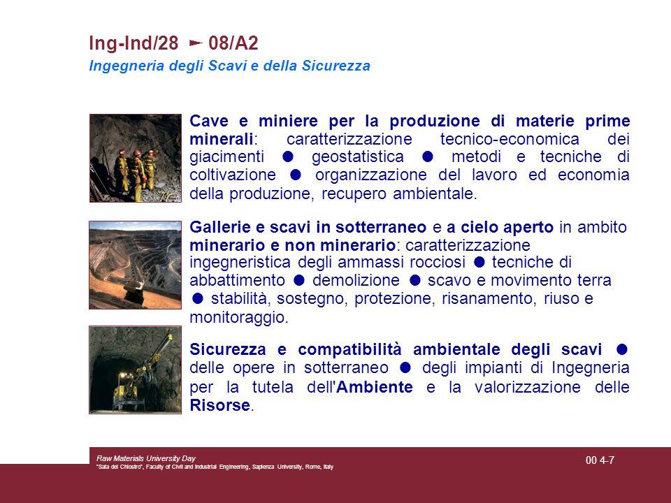 Ing-Ind/28 ► 08/A2 Ingegneria degli Scavi e della Sicurezza