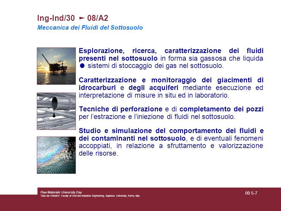 Ing-Ind/30 ► 08/A2 Meccanica dei Fluidi del Sottosuolo