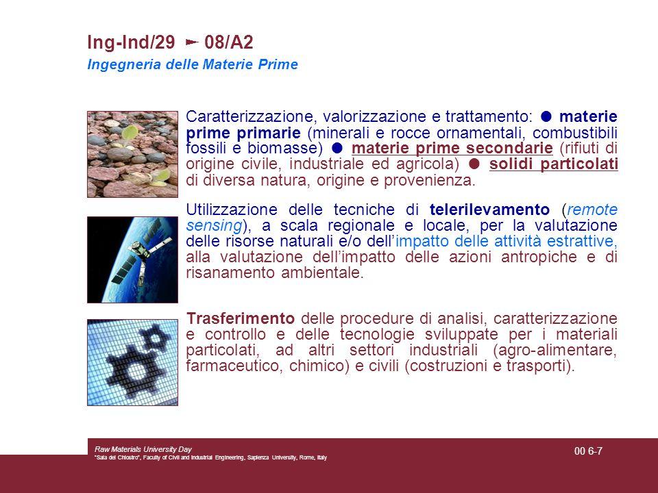 Ing-Ind/29 ► 08/A2 Ingegneria delle Materie Prime