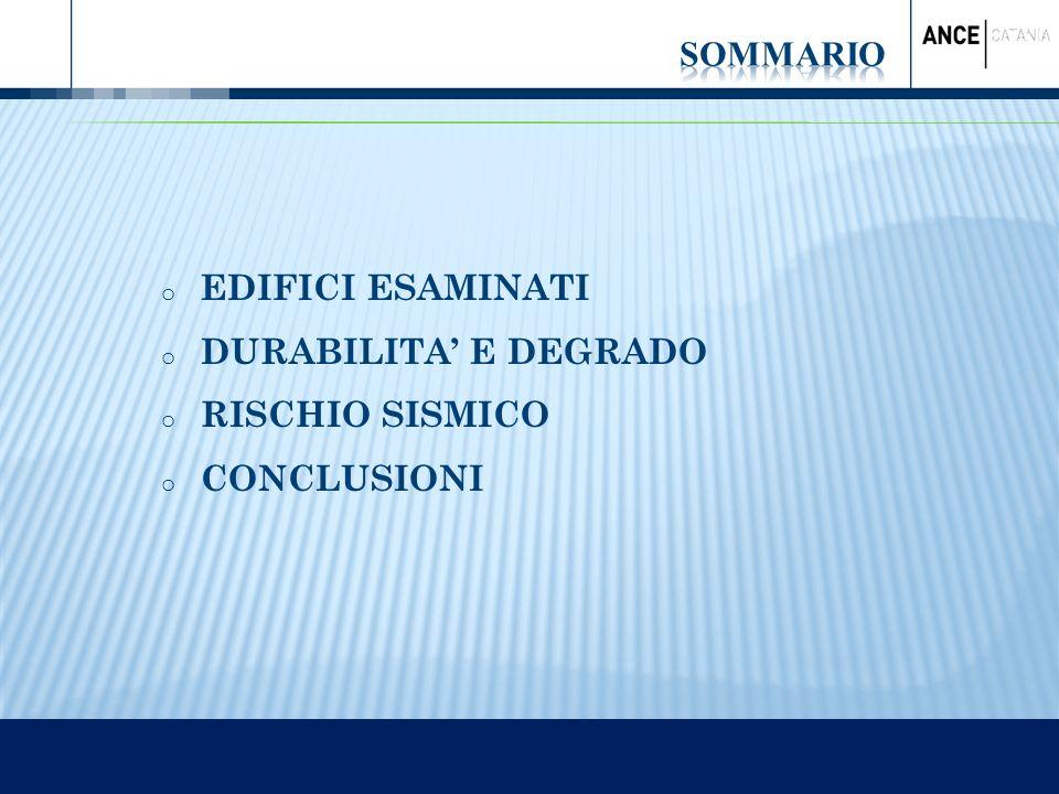 SOMMARIO EDIFICI ESAMINATI DURABILITA' E DEGRADO RISCHIO SISMICO