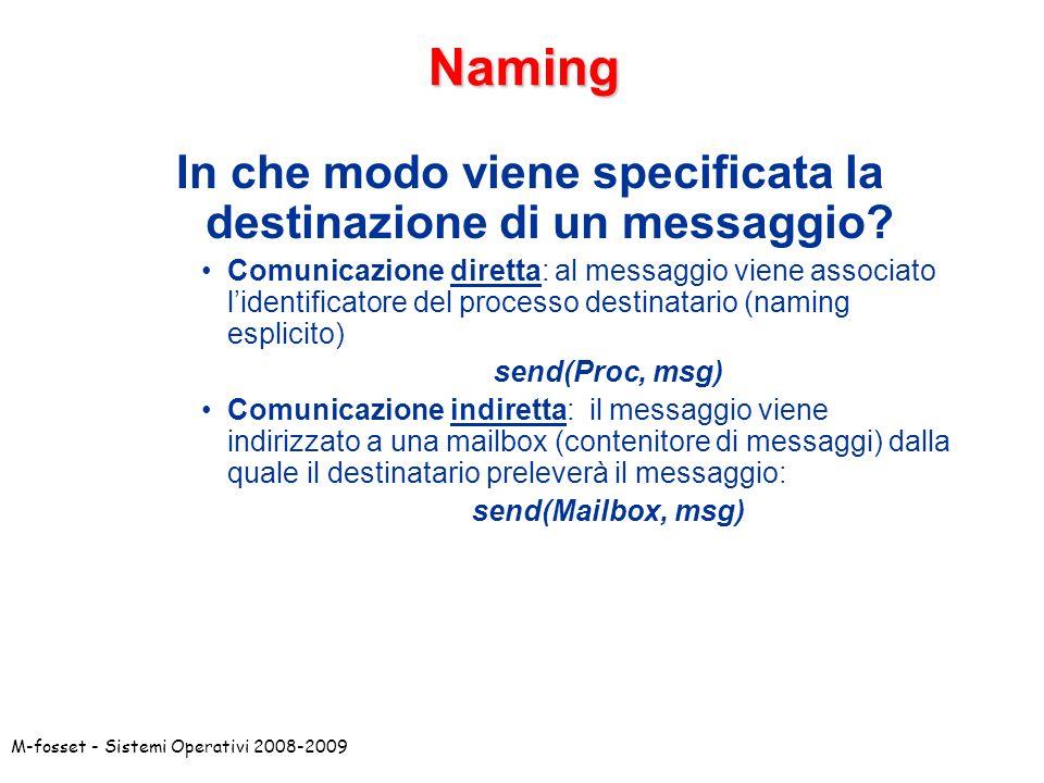 In che modo viene specificata la destinazione di un messaggio