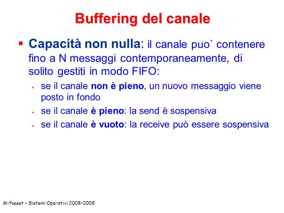 Buffering del canale Capacità non nulla: il canale puo` contenere fino a N messaggi contemporaneamente, di solito gestiti in modo FIFO: