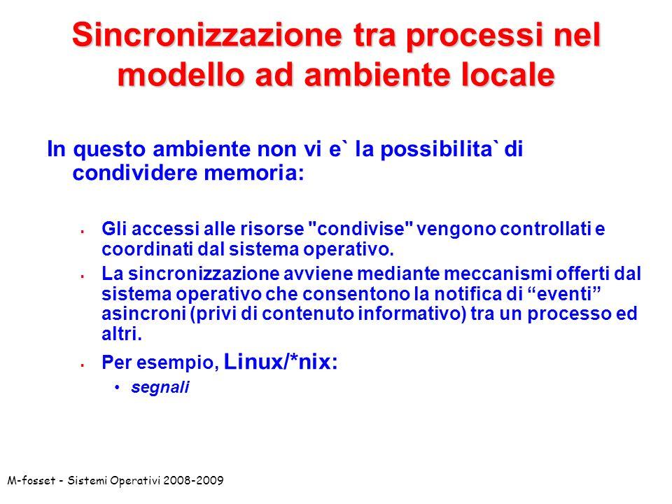 Sincronizzazione tra processi nel modello ad ambiente locale