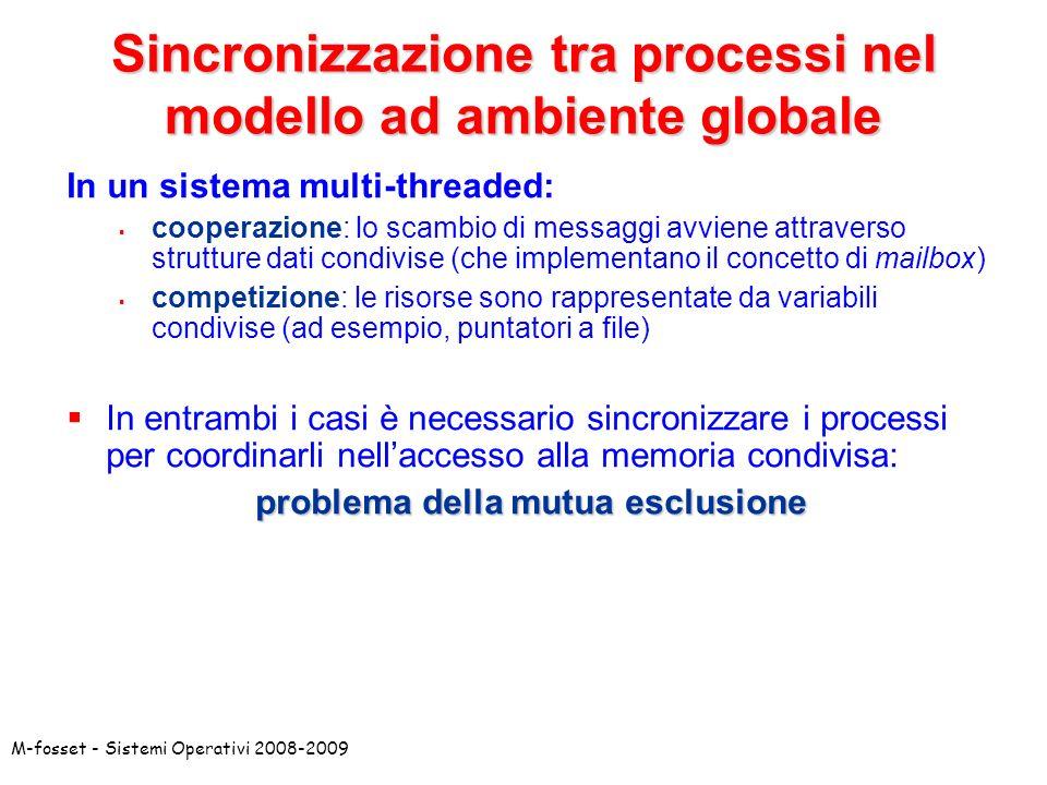 Sincronizzazione tra processi nel modello ad ambiente globale