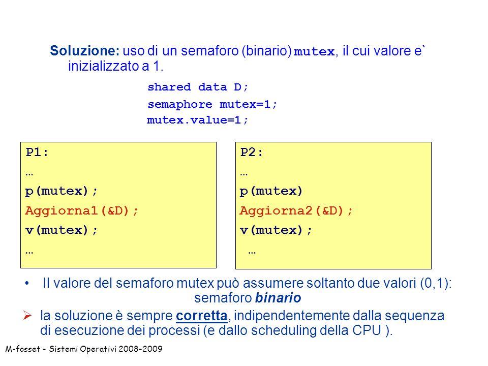 Soluzione: uso di un semaforo (binario) mutex, il cui valore e` inizializzato a 1.