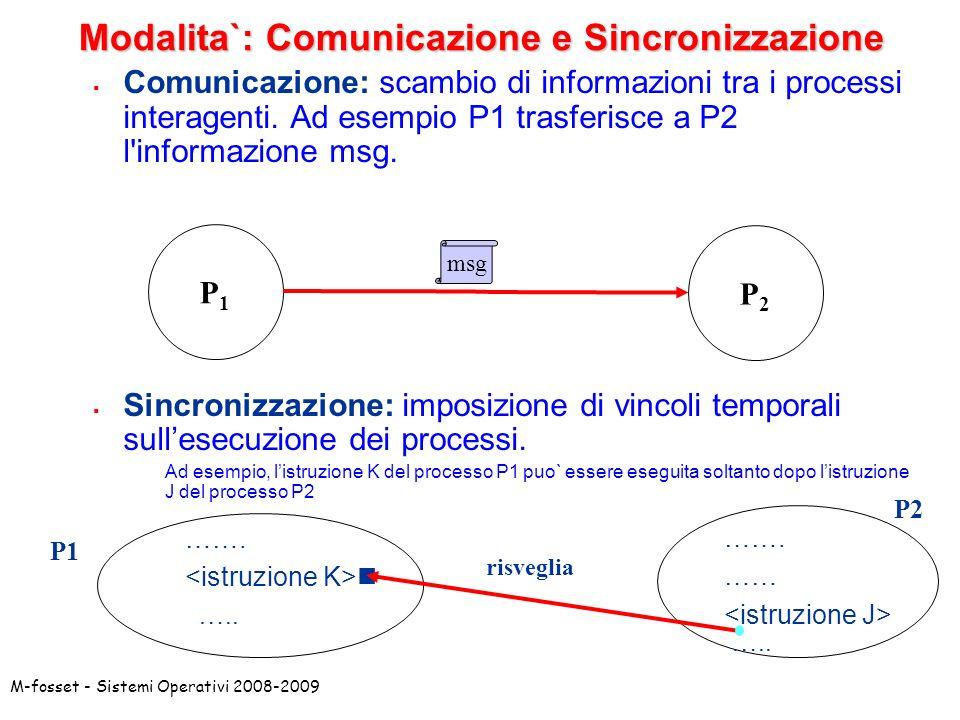 Modalita`: Comunicazione e Sincronizzazione