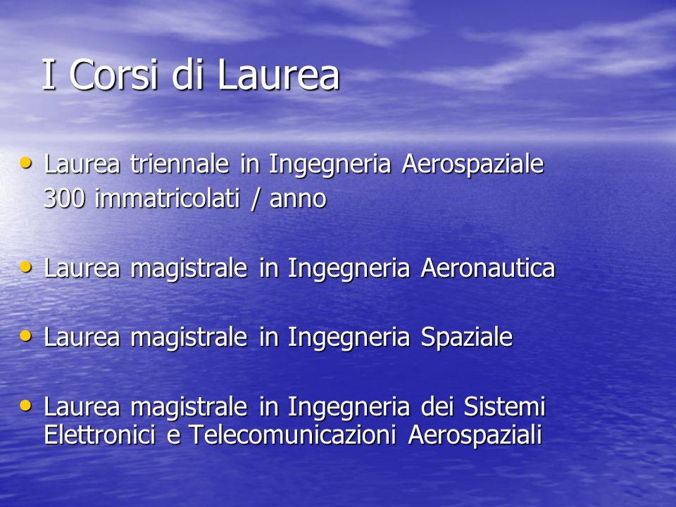 I Corsi di Laurea Laurea triennale in Ingegneria Aerospaziale