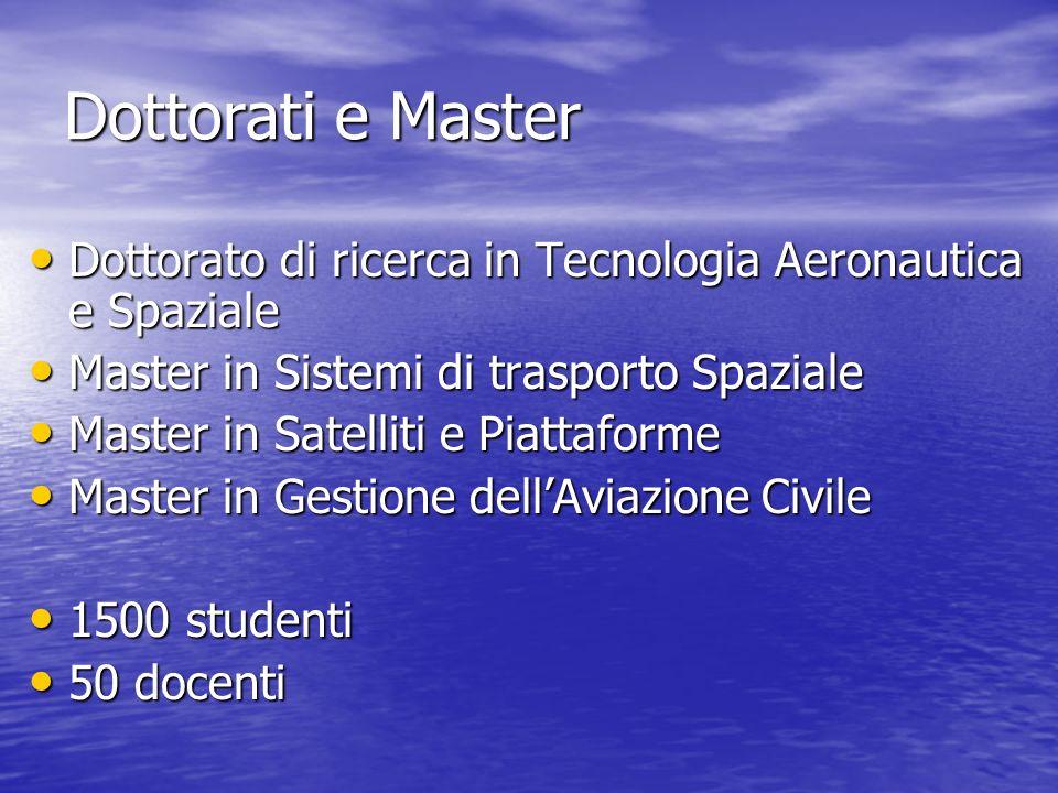 Dottorati e Master Dottorato di ricerca in Tecnologia Aeronautica e Spaziale. Master in Sistemi di trasporto Spaziale.
