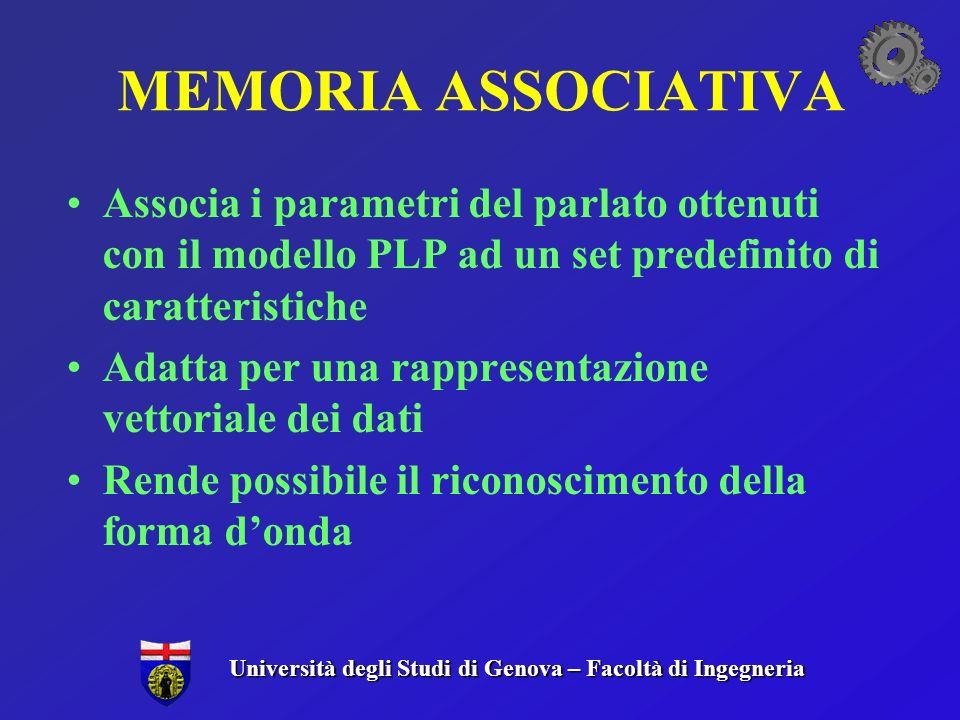 MEMORIA ASSOCIATIVA Associa i parametri del parlato ottenuti con il modello PLP ad un set predefinito di caratteristiche.
