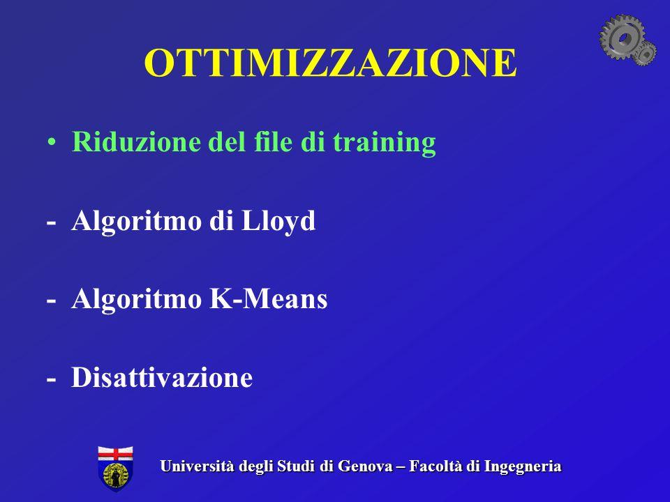 OTTIMIZZAZIONE Riduzione del file di training - Algoritmo di Lloyd