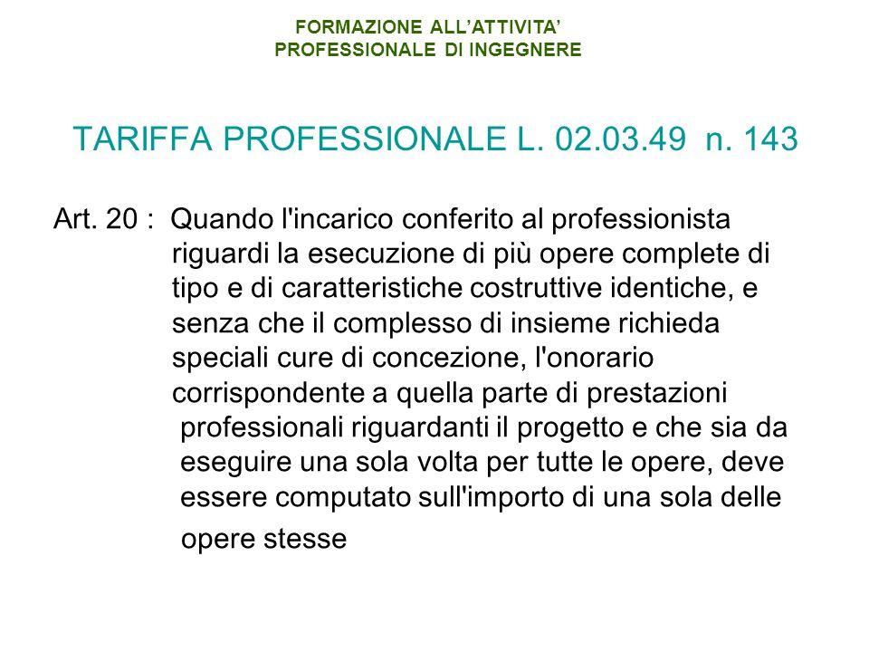 TARIFFA PROFESSIONALE L. 02.03.49 n. 143