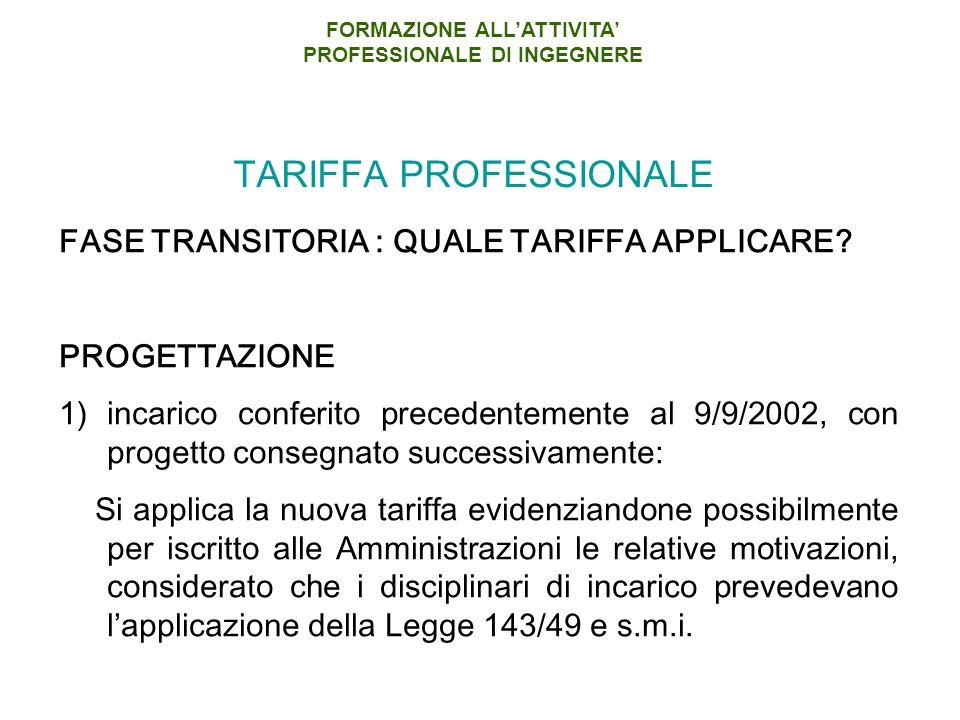 TARIFFA PROFESSIONALE
