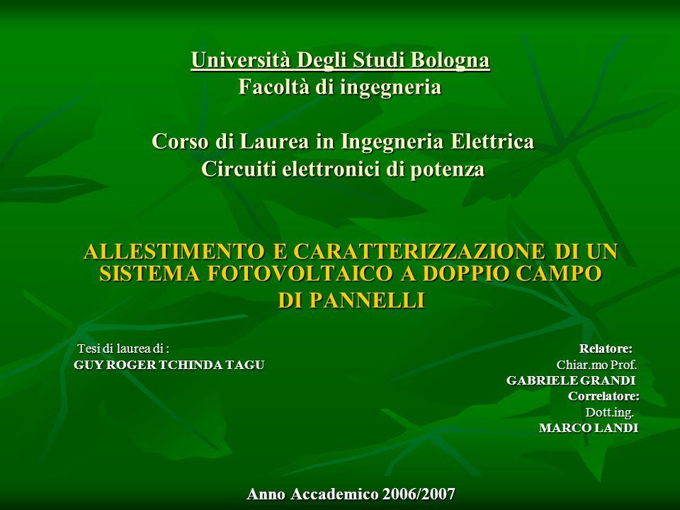 Università Degli Studi Bologna Facoltà di ingegneria Corso di Laurea in Ingegneria Elettrica Circuiti elettronici di potenza