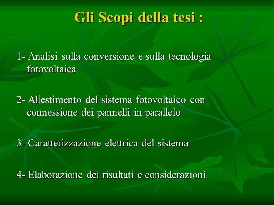 Gli Scopi della tesi : 1- Analisi sulla conversione e sulla tecnologia fotovoltaica.