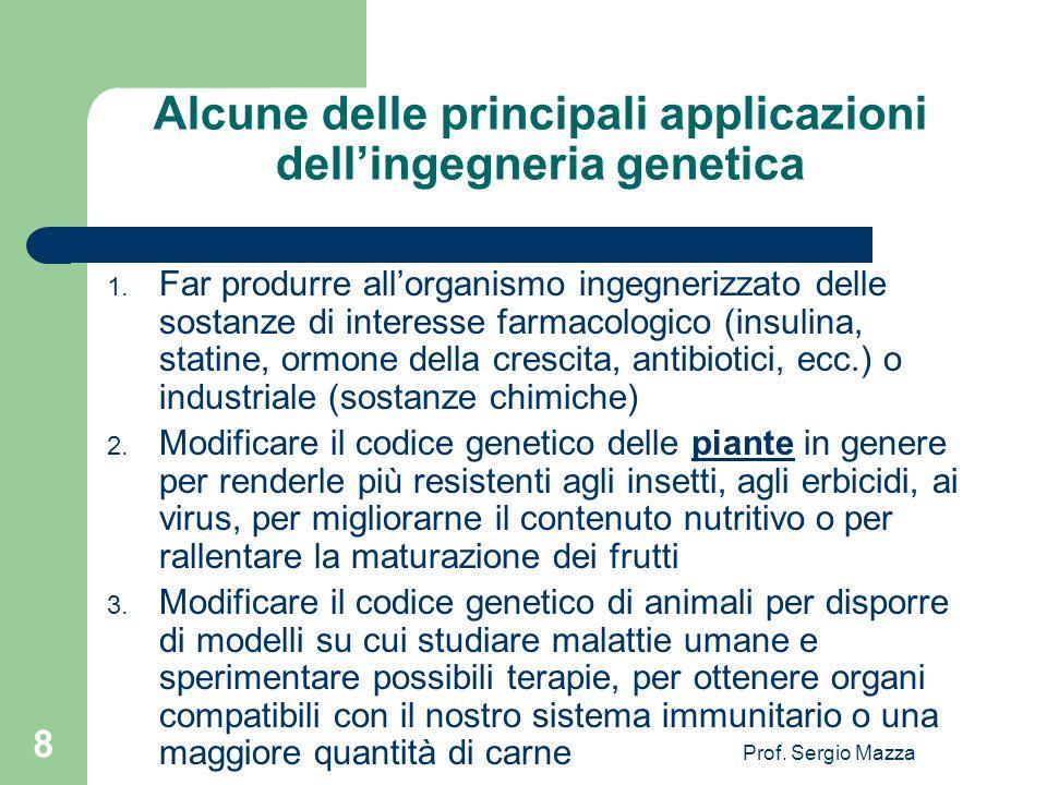 Alcune delle principali applicazioni dell'ingegneria genetica