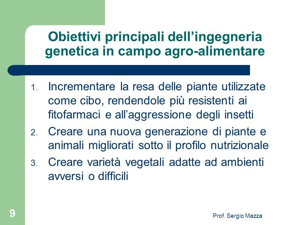 Obiettivi principali dell'ingegneria genetica in campo agro-alimentare