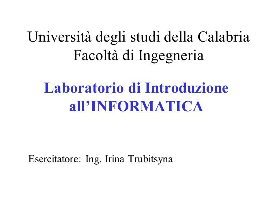 Università degli studi della Calabria Facoltà di Ingegneria