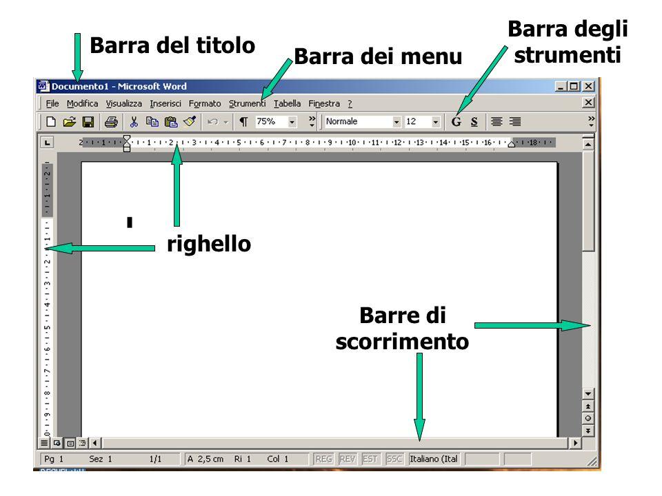 Barra degli strumenti Barra del titolo Barra dei menu righello Barre di scorrimento