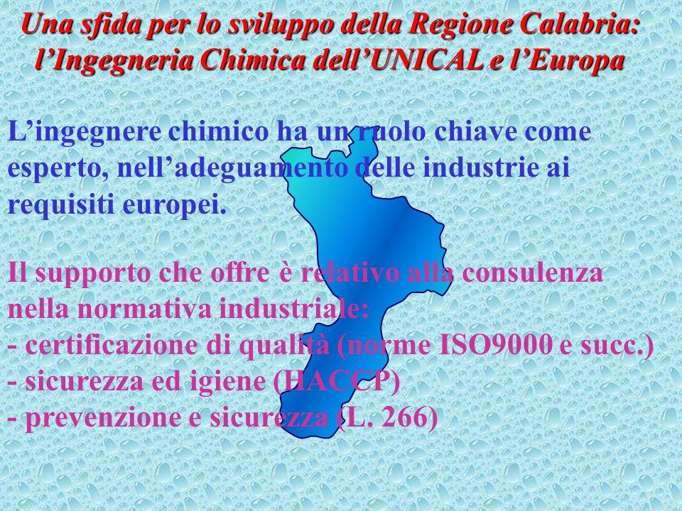 Una sfida per lo sviluppo della Regione Calabria: l'Ingegneria Chimica dell'UNICAL e l'Europa