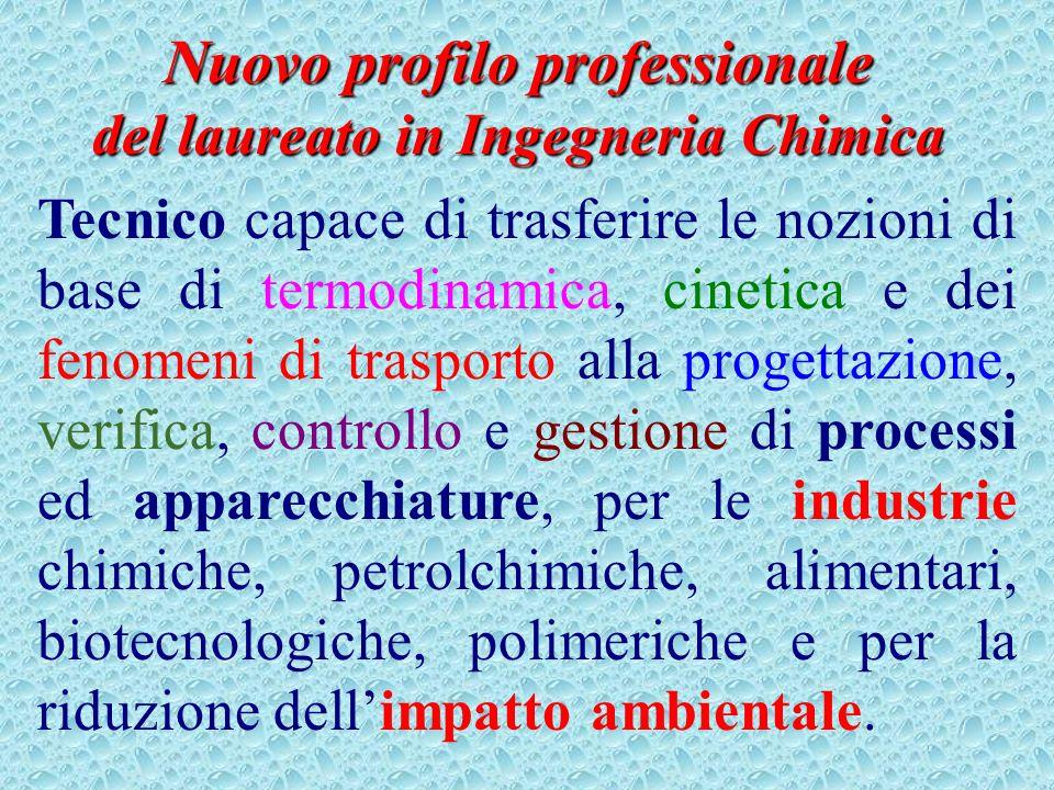 Nuovo profilo professionale del laureato in Ingegneria Chimica