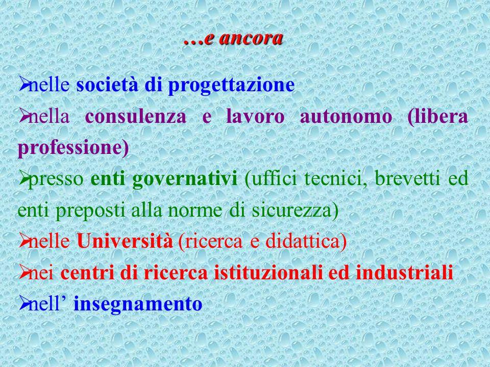 …e ancora nelle società di progettazione. nella consulenza e lavoro autonomo (libera professione)