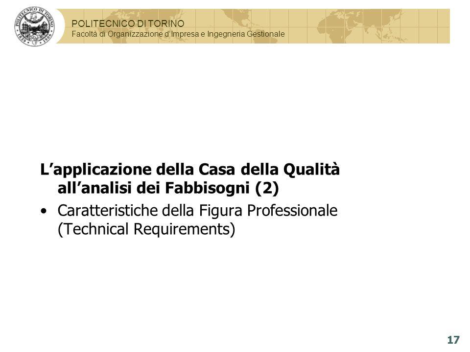 L'applicazione della Casa della Qualità all'analisi dei Fabbisogni (2)