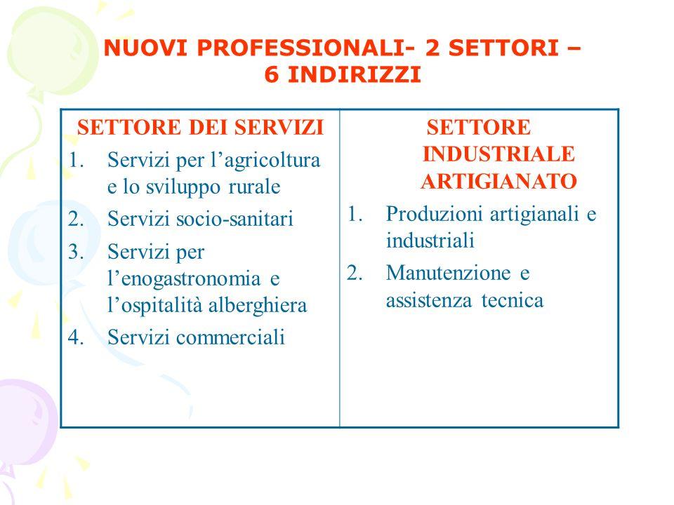 NUOVI PROFESSIONALI- 2 SETTORI – SETTORE INDUSTRIALE ARTIGIANATO