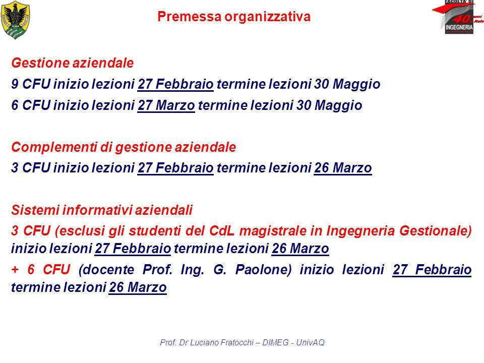 Premessa organizzativa