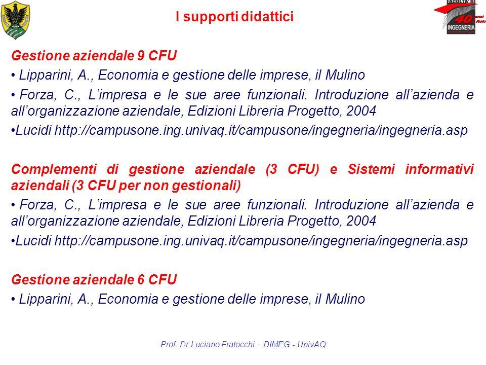 Prof. Dr Luciano Fratocchi – DIMEG - UnivAQ