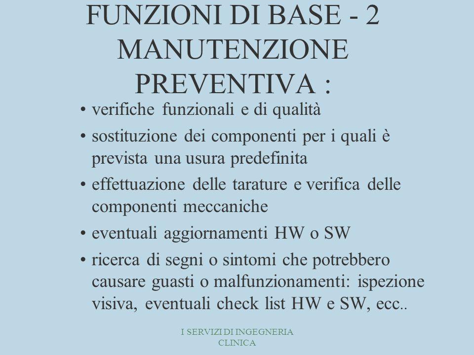 FUNZIONI DI BASE - 2 MANUTENZIONE PREVENTIVA :
