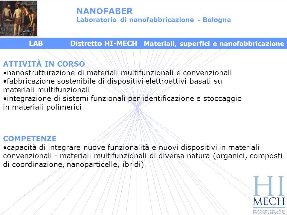 NANOFABER Laboratorio di nanofabbricazione - Bologna. LAB Distretto HI-MECH Materiali, superfici e nanofabbricazione.