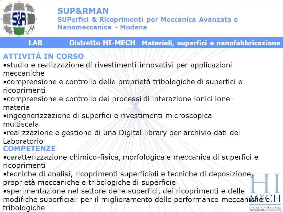 SUP&RMAN SUPerfici & Ricoprimenti per Meccanica Avanzata e. Nanomeccanica - Modena.