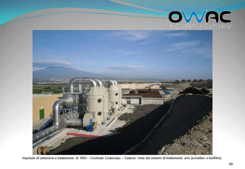 Impianto di selezione e trattamento di RSU – Contrada Codavolpe – Catania: vista dei sistemi di trattamento aria (scrubber e biofiltro)