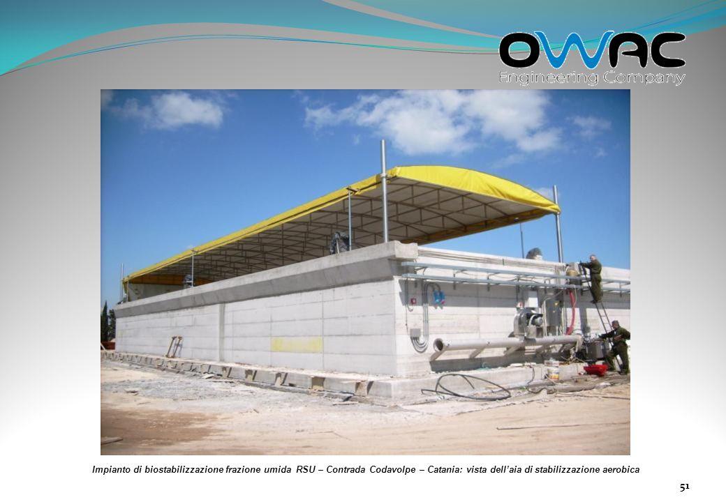 Impianto di biostabilizzazione frazione umida RSU – Contrada Codavolpe – Catania: vista dell'aia di stabilizzazione aerobica