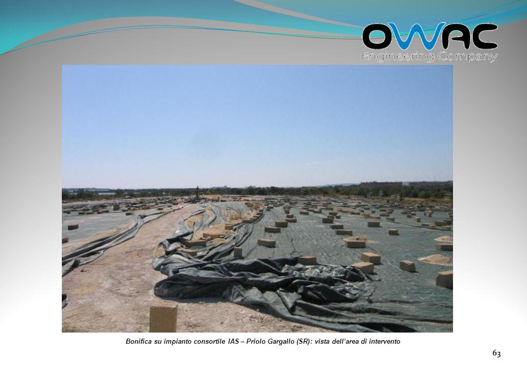 Bonifica su impianto consortile IAS – Priolo Gargallo (SR): vista dell'area di intervento