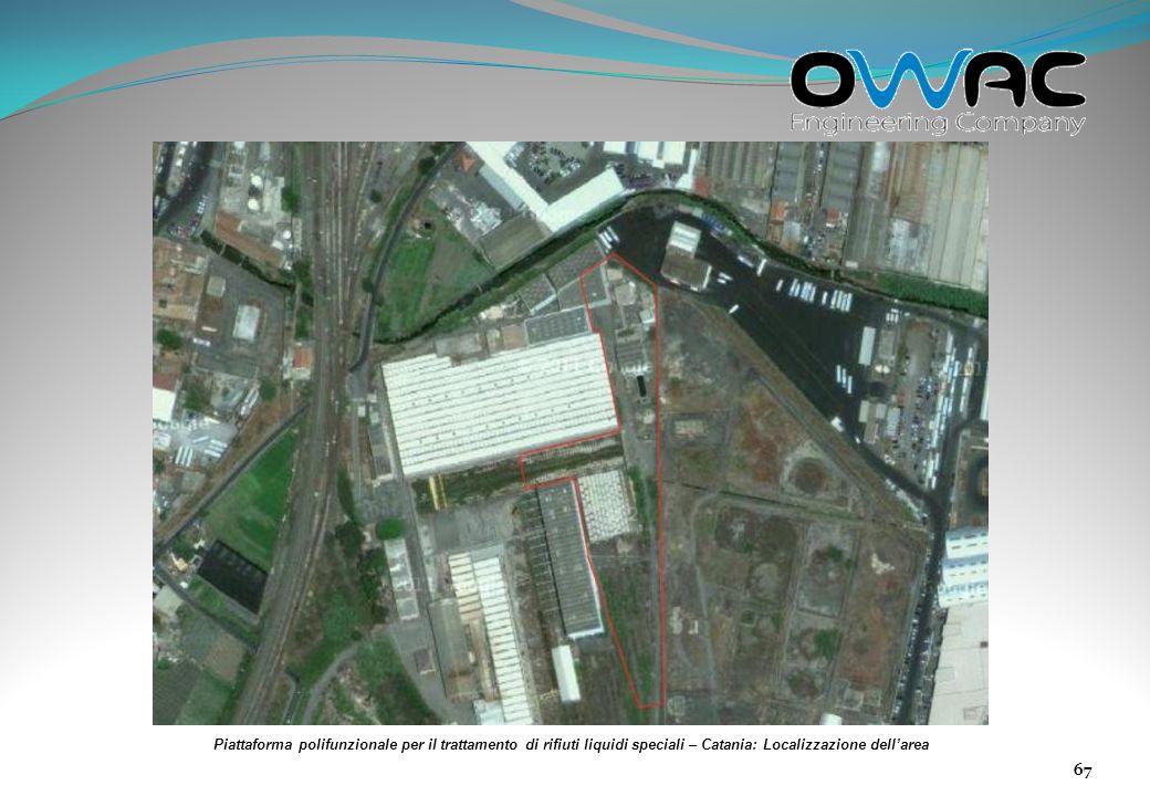 Piattaforma polifunzionale per il trattamento di rifiuti liquidi speciali – Catania: Localizzazione dell'area