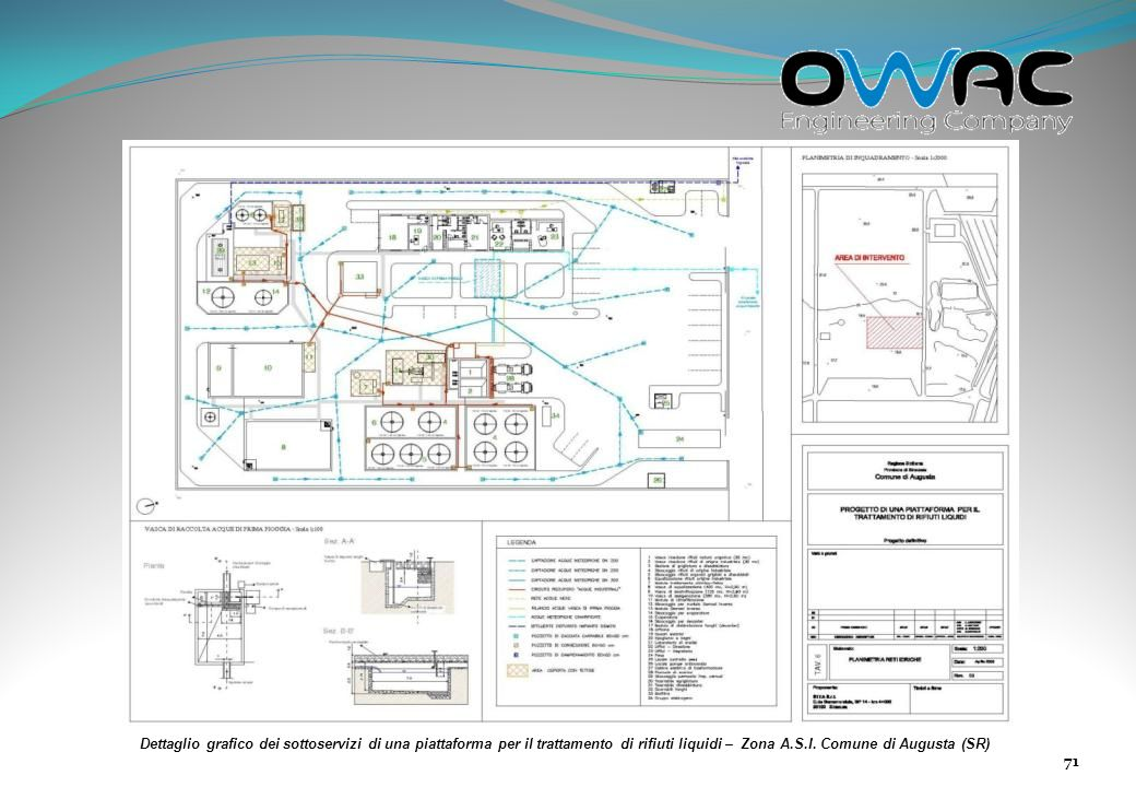 Dettaglio grafico dei sottoservizi di una piattaforma per il trattamento di rifiuti liquidi – Zona A.S.I.