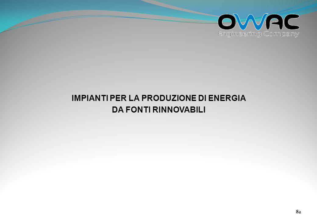 IMPIANTI PER LA PRODUZIONE DI ENERGIA DA FONTI RINNOVABILI