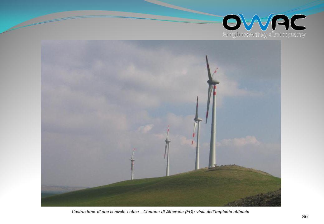 Costruzione di una centrale eolica – Comune di Alberona (FG): vista dell'impianto ultimato