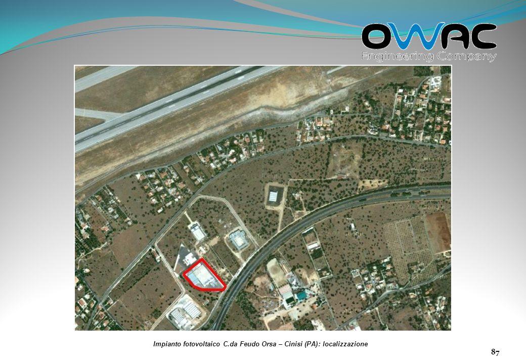 Impianto fotovoltaico C.da Feudo Orsa – Cinisi (PA): localizzazione