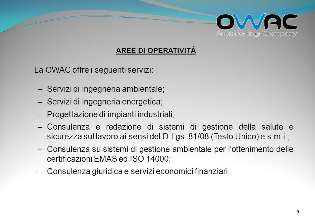La OWAC offre i seguenti servizi: Servizi di ingegneria ambientale;