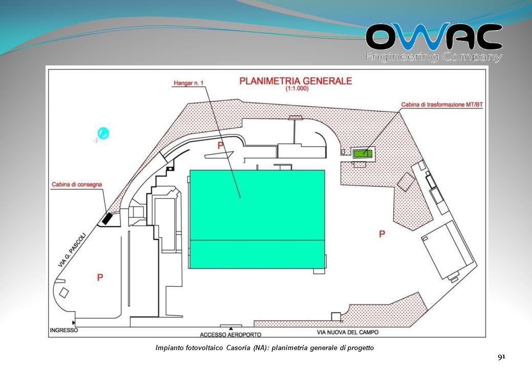 Impianto fotovoltaico Casoria (NA): planimetria generale di progetto