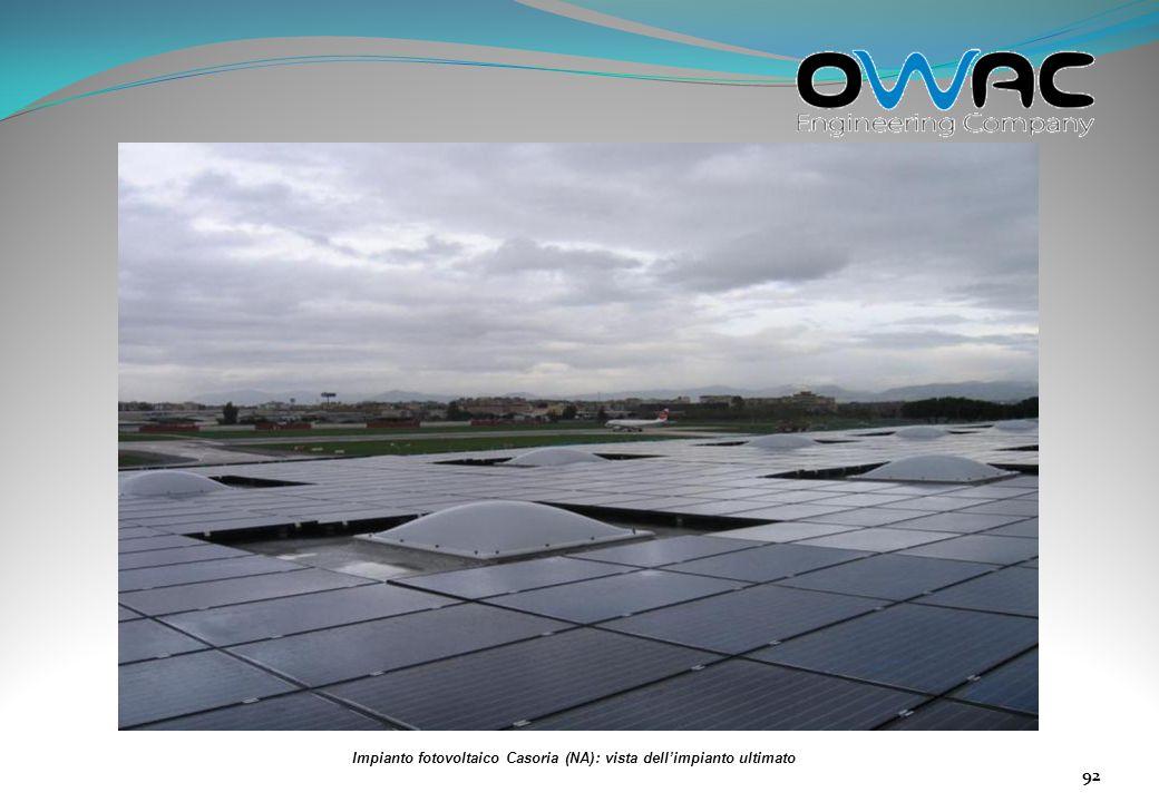Impianto fotovoltaico Casoria (NA): vista dell'impianto ultimato