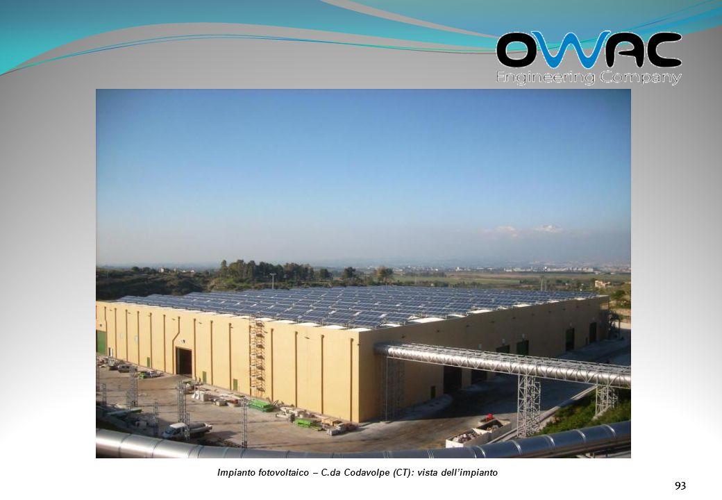 Impianto fotovoltaico – C.da Codavolpe (CT): vista dell'impianto
